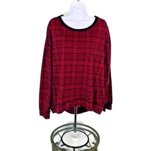 Seven7 Red Black Plaid Long Sleeve Hi Low Top XL